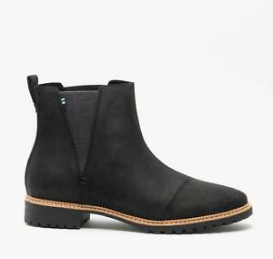 TOMS CLEO Ladies Womens Autumn Winter Casual Leather Chelsea Ankle Boots Black