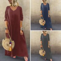VONDA Women Vintage Loose Long Shirt Dress Kaftan Plain Baggy Casual Maxi Dress