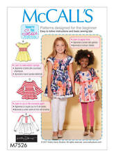 McCall's Sewing Pattern  M7526 SZ 3-6 Children's/Girls' Easy Peasant Tops Tunics