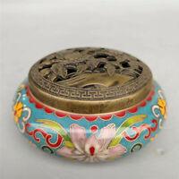 Collection Chinese pure copper Cloisonne carved Flower Incense burner censer