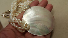 "Rare NAUTILUS SHELL Pendant Necklace 28"" Genuine WOVEN Pearls 6 Strands 1980's"