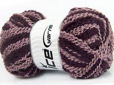 Lot of 4 x 100gr Skeins Ice Yarns WOOL TWISTER (20% Wool) Yarn Maroon Light Pink