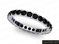 0.85Ct Black Diamond Classic Shared Prong Eternity Band Ring 14k White Gold AA