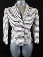 WORTHINGTON womens Sz 6  L/S WHITE BROWN  TEXTURED LINED BLAZER JACKET (L)