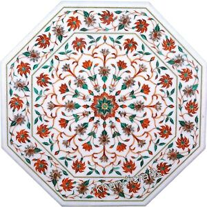 30 Inch Carnelian Stone Inlaid Kitchen Table Top Marble Coffee Table Floral Art