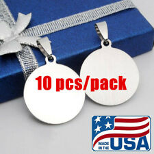 US 10 pcs Stainless Steel Pendant Circle Pet Dog ID Tags Round Dog Tag