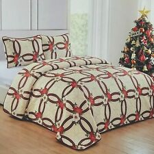 CHRISTMAS RED GREEN WEDDING RING POINSETTIA FLOWER HOLIDAY FLORAL F/Q Quilt Set