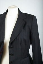 P437/P01 Ann Taylor Elegant Graphite Sexy Fited Wool Blazer Jacket,UK12 Euro 40