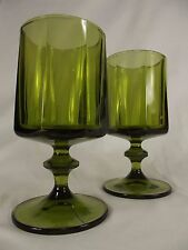 2 VINTAGE Indiana COLONY NOUVEAU stemmed Drinking Glass goblets AVOCADO GREEN