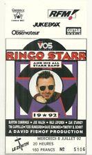RARE / TICKET BILLET CONCERT - RINGO STARR ( THE BEATLES )LIVE PARIS FRANCE 1992