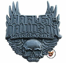 HARLEY DAVIDSON GOTHIC WINGS SKULL ANTIQUE NICKEL FINISH VEST PIN JACKET PIN