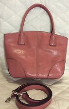 Fossil Leather Pink Vintage Satchel Hand Bag And Crossbody Purse