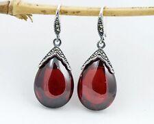 Genuine 925 Sterling Silver Marcasite Teardrop Dangle Earrings W. Red Stone
