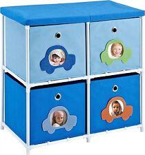 Blue Storage Kids Toy Box Playroom Furniture Bedroom Girls Organizer 4 Bin New