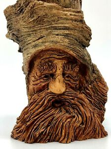"Vtg Handcarved Folk art Tree Spirit Man Alpee/Albee '89  6.5"" stone/Wood (?)"