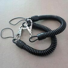 2* Plastic Black Retractable Spring Coil Spiral Stretch Chain Keychain Key Ring