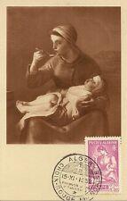 CARTE POSTALE MAXIMUM ALGERIE ALGER MILLET - FEMME DONNANT LA BOUILLIE 1952