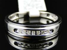10K Mens White Gold Round Diamond 5MM Channel Set Wedding Band Ring 1/12 Ct