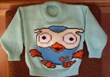HOOT OWL..NEW SIZE 2-3  HANDKNITTED