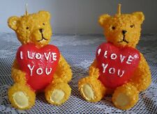 DECORATIVE CANDLES SHAPED  2 TEDDY BEARS  LOVES SWEET - NEW IN PACK