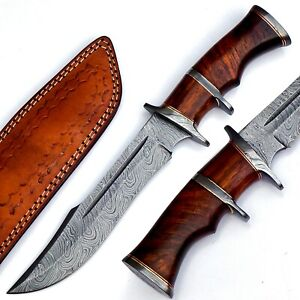 Damascus Fixed Blade Hunting Knife Over 200 Layers With Leather Sheath, Rosewood