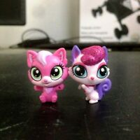 2Pcs Littlest Pet Shop LPS Squirrel & Cat Kitten cute pet mini figure toy doll