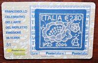 """ITALIA REPUBBLICA 2004 TESSERA FILATELICA """"ARTE DEL MERLETTO"""" (CAT.A)"""