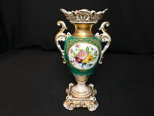 "Antique Old Paris 10&1/4"" Porcelain Vase (c.1850) Green Floral A Lot of Gold"