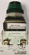 ALLEN BRADLEY Green Lens Indicating Pilot Light 120V AC DC 800T QL10G