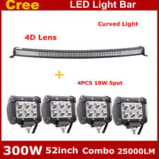 "4D+ 52inch 300W LED Light Bar Curved Combo Offroad Truck 4X4WD Roof +18W 4"" Pods"