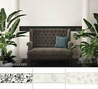 selbstklebende Blumenbordüre Schwarz Weiß Grau | Schlafzimmer-, Wohnzimmerborte