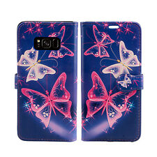 Leather Wallet Flip Book Protective Phone Case Cover for Samsung Galaxy S6 Edge S7 Pink Butterfly - Butterflies White Purple Midnight