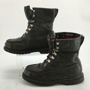 Cabela's Men 8.5EE Gore-Tex Lace Up Boots Black Leather Moc Toe Stitch Ankle Top