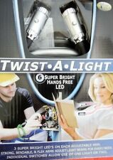 2- Black Pk $19.98) Twist.A.Lights 6 Led Hand Free Lights Use 1 Or 2 Lights New