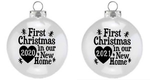 Vinyl Decal, for Wine Glass bauble OUR FIRST CHRISTMAS NEW HOME 2020  and 2021