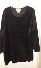 Bridge Gate Women's Velour with Pattern Black Plus Size 3X Tunic