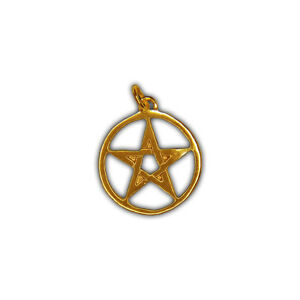 Siegel der Hexerei – Anhänger Geschlossenes Pentagramm – Silber vergoldet