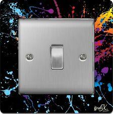 Single Light Switch / Socket Surround Acrylic Finger Plate Paint Splat sr5
