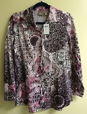NWT CHICO'S Top Medallion Mixer ELLA LS Pink Sand Button Shirt sz 0 (4) Small