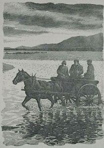 HORSE & TRAP : 1943 Print of a Woodcut: Tarbert