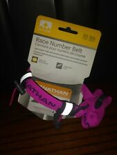 NATHAN Race Number Belt Reflective Lightweight One Size Fits Unisex Pink Color