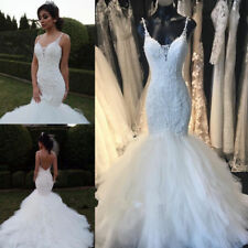 2017 Beading Wedding  Dresses Bridal Gowns Mermaid Custom Size 8 10 12 14 16