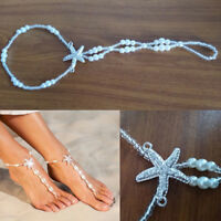 Women Anklet Foot Chain Pearl Barefoot Sandals Beach Bracelet Jewelry Toe Ring
