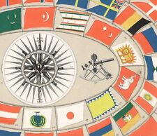 1875 Gravure originale marine Pavillons Instruments de navigation drapeaux