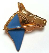 BROCHE vintage TETE DE CHEVAL métal doré laqué bleu