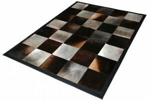 Cowhide Rug Patchwork, Cow print Hide , Squares Patch work rugs, Large 5 by 8ft