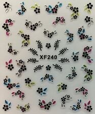Nail Art 3D Decal Stickers Rhinestones with Flowers & Leaves Xf240