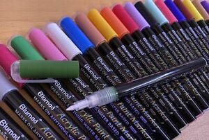 Blumad - Acrylic Paint Pens Set Of 30 - 0.7mm - Free Carry Case, Art, Marker