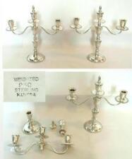 Pair of Japan Sterling Silver Convertible K. Uyeda Candelabra Candlesticks 1940s