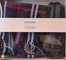 Mens Blue Plaid Scarf Muffler & Black Leather Gloves Gift Set~New